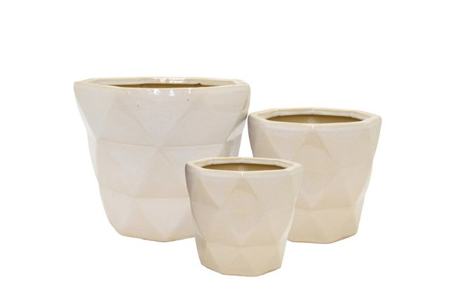 3 Piece Set White Ceramic Planter - 360