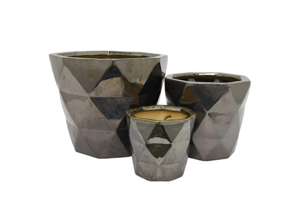 3 Piece Set Silver Ceramic Planter