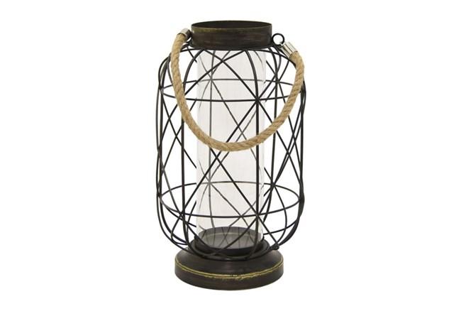 Caged Black Metal Lantern - 360