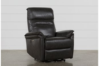 Laird Dark Grey Power Wallaway Recliner W/ Adjustable Headrest