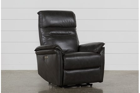Laird Dark Grey Power Wallaway Recliner W/ Adjustable Headrest - Main