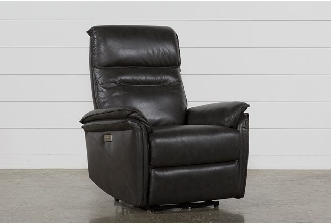 Laird Dark Grey Power Wallaway Recliner W/ Adjustable Headrest - 360