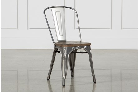 Burton Metal Side Chair With Wooden Seat - Main