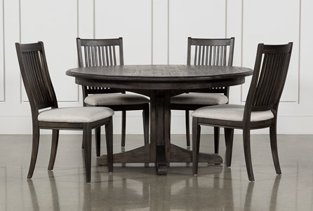 Valencia 5 Piece Round Dining Set With Uph Seat Side Chairs