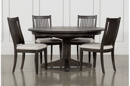Valencia 5 Piece Round Dining Set With Uph Seat Side Chairs - Main