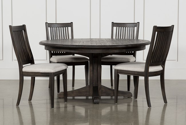 Valencia 5 Piece Round Dining Set With Uph Seat Side Chairs - 360