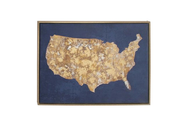 Picture-Cobalt And Gold Us Map 39X29 - 360