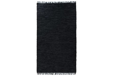 58X97 Rug-Charcoal Handwoven Leather