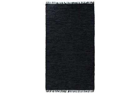 108X145 Rug-Charcoal Handwoven Leather