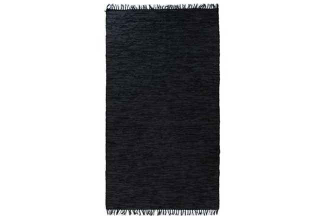 108X145 Rug-Charcoal Handwoven Leather - 360