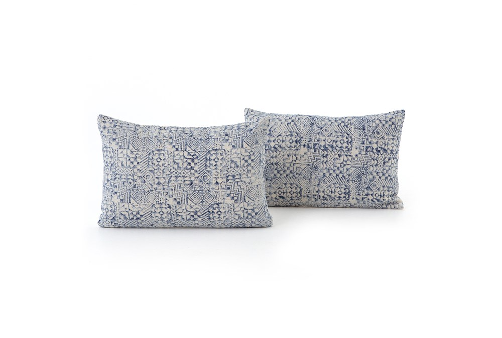 Accent Pillow-Faded Denim Mosaic Print 16X24 Set Of 2