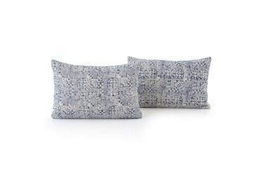 Accent Pillow-Faded Denim Mosaic Print 16X24 Set Of 2