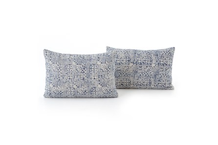 Accent Pillow-Faded Denim Mosaic Print 16X24 Set Of 2 - Main