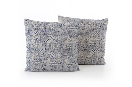 Accent Pillow-Faded Denim Mosaic Print 24X24 Set Of 2 - Main