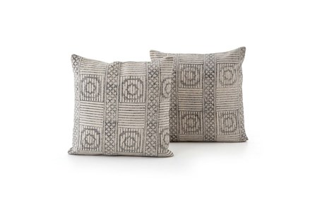 Accent Pillow-Faded Black Block Print 20X20 Set Of 2