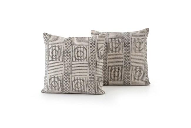 Accent Pillow-Faded Black Block Print 20X20 Set Of 2 - 360