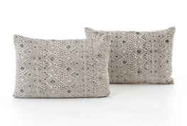 Accent Pillow-Faded Grey Print 16X24 Set Of 2
