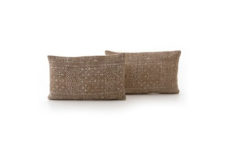 Accent Pillow-Faded Rust Diamond 12X20 Set Of 2