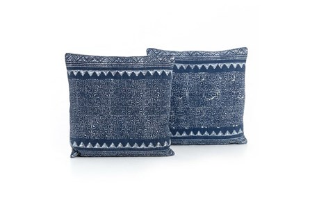 Accent Pillow-Faded Blue Tribal 20X20 Set Of 2 - Main