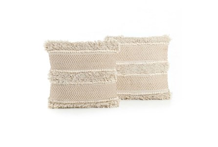 Accent Pillow-White Copper Fringe 18X18 Set Of 2