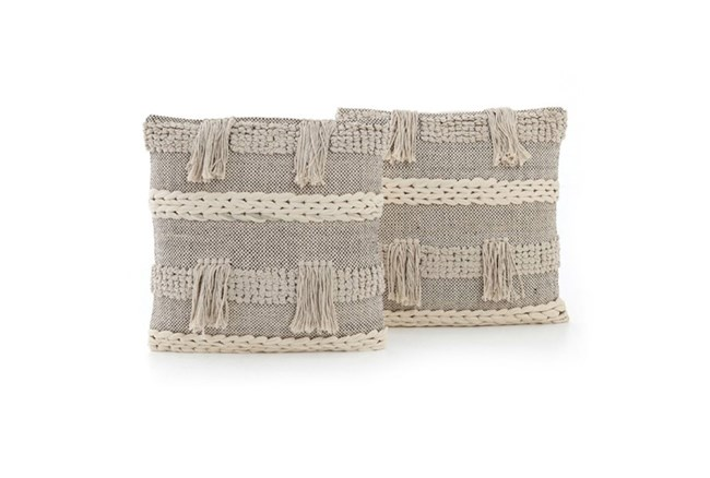 Accent Pillow-Braided Fringe 20X20 Set Of 2 - 360