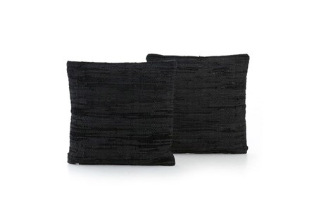Accent Pillow-Black Leather Stitch 20X20 Set Of 2