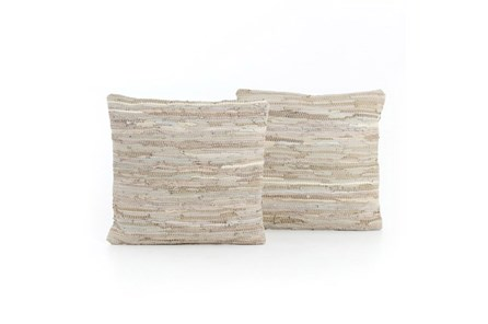 Accent Pillow-Stone Leather Stitch 20X20 Set Of 2 - Main