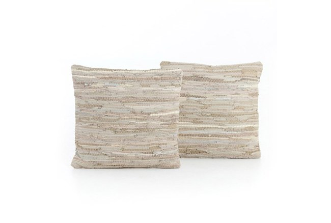 Accent Pillow-Stone Leather Stitch 20X20 Set Of 2 - 360