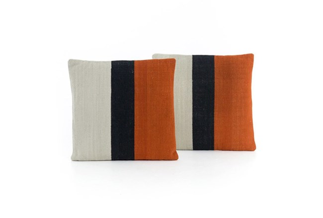 Accent Pillow-Red Block Stripe 20X20 Set Of 2 - 360