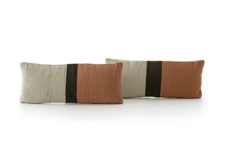 Accent Pillow-Rust Block Stripe 12X28 Set Of 2
