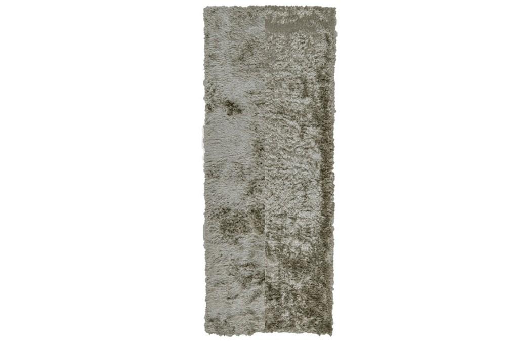 """2'5""""x10' Rug-Burnout Sheen Shag Silver"""