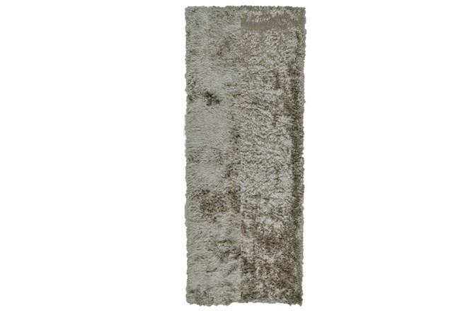 """2'5""""x10' Rug-Burnout Sheen Shag Silver - 360"""