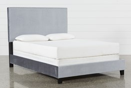 Zara Grey Queen Upholstered Panel Bed