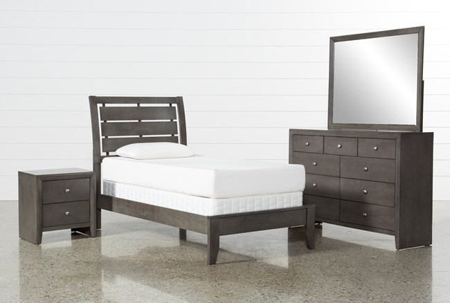 Chad Grey Twin 4 Piece Bedroom Set - 360