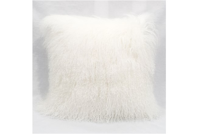 Accent Pillow-Mongolian Lambs Wool White 18X18 - 360