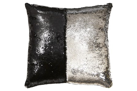 Accent Pillow-Mermaid Sequin Silver/Black 18X18