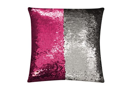 Accent Pillow-Mermaid Sequin Silver/Hot Pink 18X18