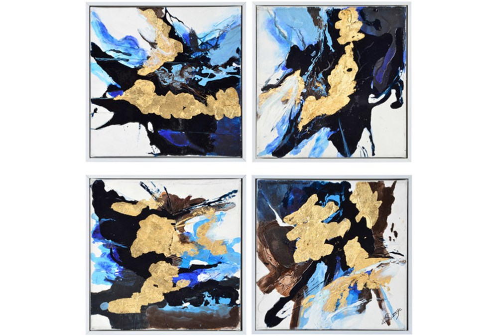 Picture-4 Piece Blue And Gold Inkblots 15X15