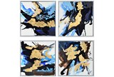 Picture-4 Piece Blue And Gold Inkblots 15X15 - Signature