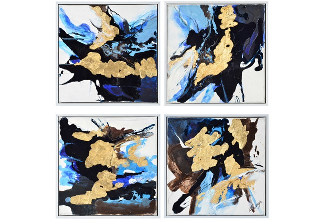 Picture-4 Piece Blue And Gold Inkblots 15X15 - 360