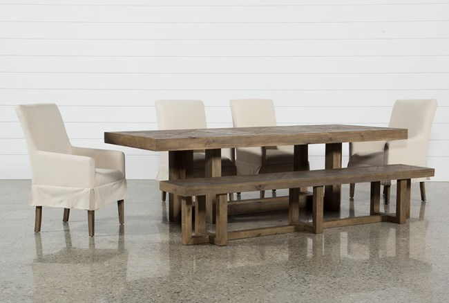 Palazzo 6 Piece Dining Set With Mindy Slipcovered Side Chairs - 360