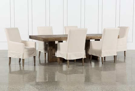 Palazzo 7 Piece Dining Set With Mindy Slipcovered Side Chairs