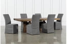 Palazzo 7 Piece Dining Set With Pearson Grey Side Chairs