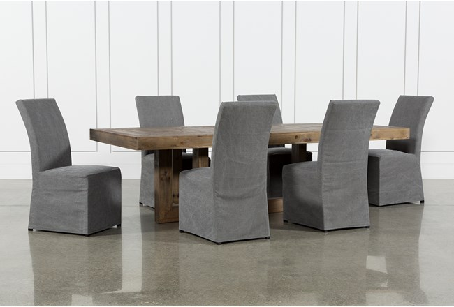 Palazzo 7 Piece Dining Set With Pearson Grey Side Chairs - 360