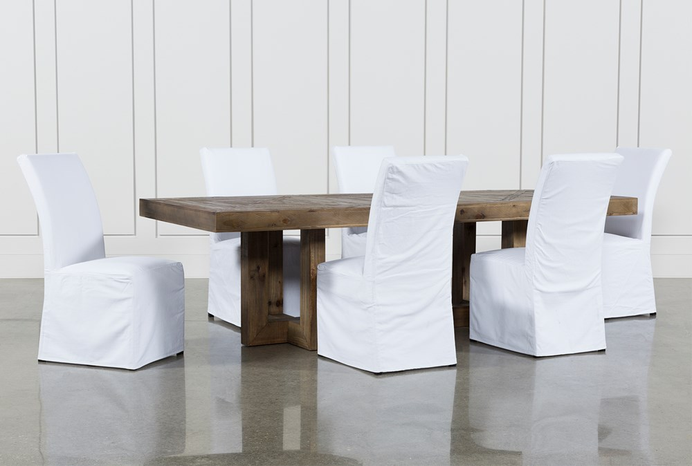 Palazzo 7 Piece Dining Set With Pearson White Side Chairs