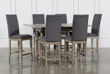 Caira 7 Piece Extension Counter Set With Upholstered Stools