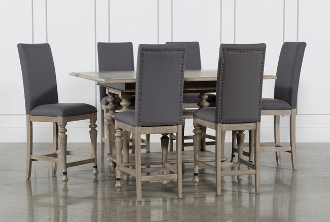 Caira 7 Piece Extension Counter Set With Upholstered Stools - 360
