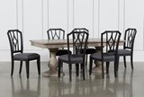 Caira 7 Piece Rectangular Dining Set With Diamond Back Side Chairs - Signature