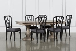 Caira 7 Piece Rectangular Dining Set With Diamond Back Side Chairs