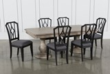 Caira 7 Piece Rectangular Dining Set With Diamond Back Side Chairs - Top